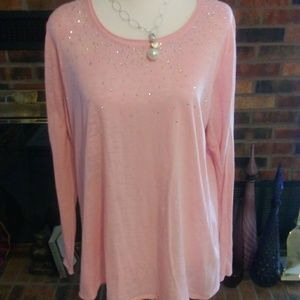 Maurices Long Sleeve Blingy Burnout Top